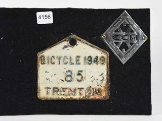 RARE 1949 TRENTON BICYClE PlATE   CCM lOGO