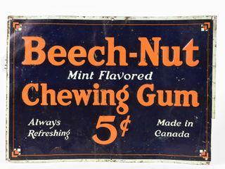 BEECH NUT 5 CENT CHEWING GUM SST EMBOSSED SIGN