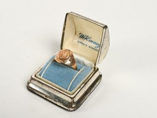 B A GRAD RING WITH 3 DIAMOND STYlE CHIPS  CASE