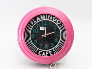 FlAMINGO CAFE NEON ClOCK