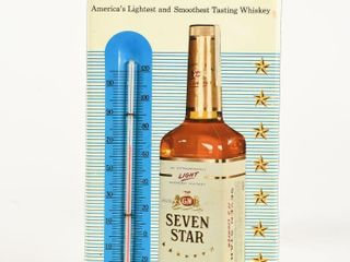 1955 G W SEVEN STAR WHISKEY TIN THERMOMETER