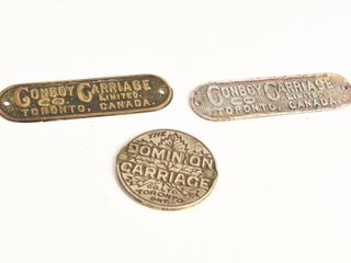 GROUPING 3 VINTAGE TORONTO CANADA CARRIAGE TAGS