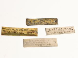 GROUPING 4 VINTAGE STOFFVIllE AREA TAGS