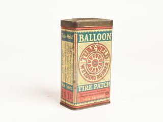 ANTIQUE BAllOON TIRE PATCH 50 CENT TUBE WElD CAN