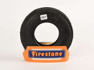 FIRSTONE RUBBER TIRE   CARDBOARD TIRE STAND   NOS