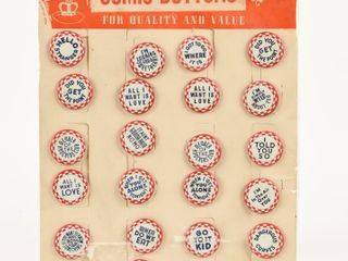 VINTAGE COMIC BUTTONS CARDBOARD STORE DISPlAY