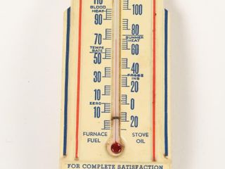 IRVING GAS OIl METAl ADVERTISING THERMOMETER
