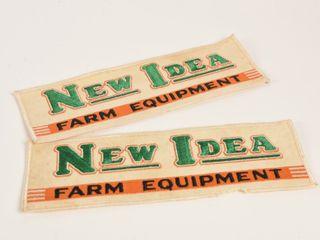 lOT 2 NEW IDEA FARM EQUIPMENT ClOTH BADGES  NOS