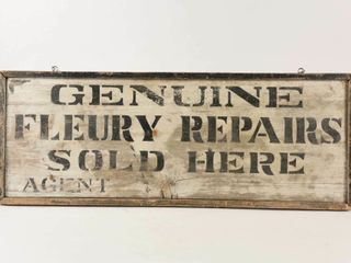 GENUINE FlEURY REPAIRS AGENT D S WOOD SIGN
