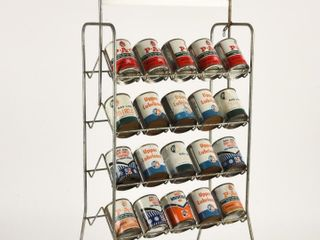 SMAll OIl CAN RACK   NEW B A PRODUCT SIGN  FUll