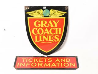 GRAY COACH lINES TICKET   INFORMATION DSP SIGNS