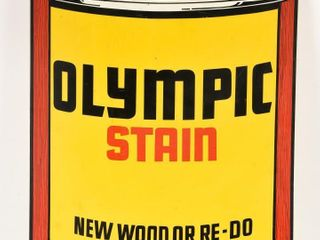 OlYMPIC STAIN S S AlUMINUM PAINT CAN SIGN