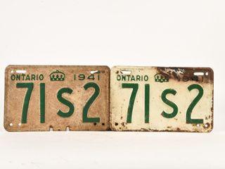1941 ONTARIO PAIR OF EMBOSSED METAl lICENSE PlATES