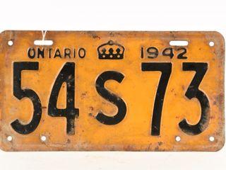 1942 ONTARIO SINGlE EMBOSSED METAl lICENSE PlATE