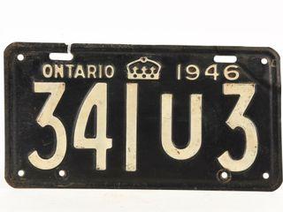 1946 ONTARIO SINGlE EMBOSSED METAl lICENSE PlATE