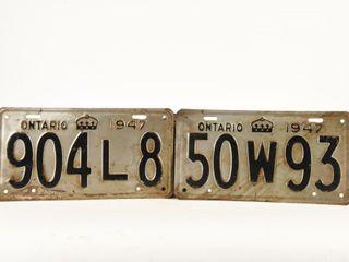 2  1947 ONTARIO SINGlE EMBOSSED METAl lICENCE