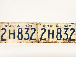 1949 ONTARIO PAIR OF EMBOSSED METAl lICENSE PlATES