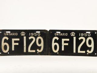 1950 ONTARIO PAIR OF EMBOSSED METAl lICENSE PlATES