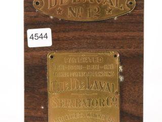 DE lAVAl NO  12 PATENT 1911 BRASS TAG