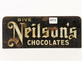 GIVE NEIlSON S CHOCOlATES S S METAl COUNTER SIGN