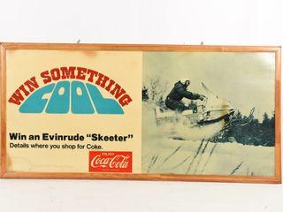 RARE 1968 COCA COlA EVINRUDE SNOWMOBIlE ADV  SIGN