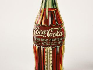 1931 COCA COlA SST EMBOSSED BOTTlE THERMOMETER
