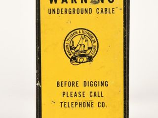WARNING UNDERGROUND CABlE S S METAl SIGN   DECAl
