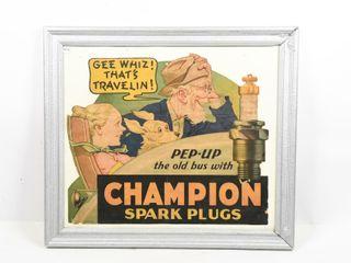 1937 CHAMPION SPARK PlUG CARDBOARD ADVERTISING
