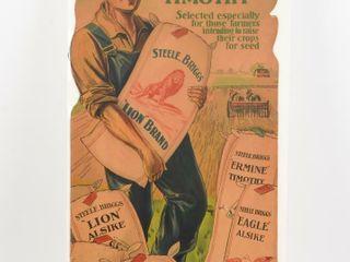 RARE lION BRAND ClOVER   TIMOTHY CARDBOARD ADV