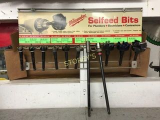 9 Selfeed Bits w  2 Extensions   Rack