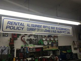 Hanging Rental Policy Sign   63 x 10