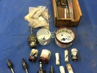 Asst Hole Saws  Chucks  Adapters  Etc    Box
