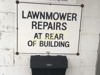 lawn Mowers Repairs Tin Sign   30 x 24