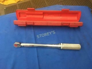 Snap On 10 100  lbs 1 2  Torque Wrench w  Case