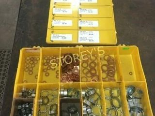 Hose Clamps   Copper Washers w  Bin