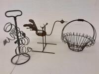 Metal Rocking Bird  Metal Decorative basket  Wine Holder
