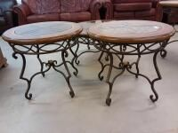 2 matching Glass top end tables 28in