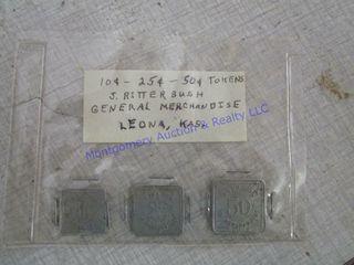 3 TOKENS FROM J RITTERBUSH IN lEONA KS