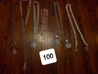 assorted chains necklaces belts