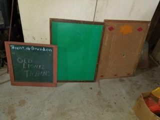 chalkboards and cork board