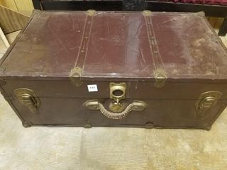 vintage metal travel trunk