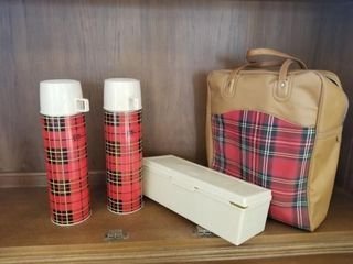 Red plaid Picnic Tote and 2 Thermos