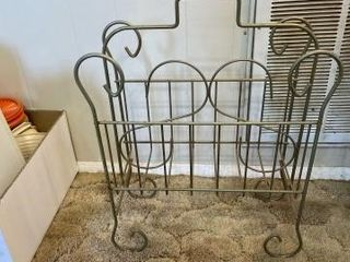 Vintage metal magazine rack and wooden candle