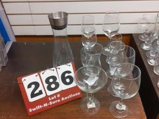 10 pcs of glass stem ware and glass decanter