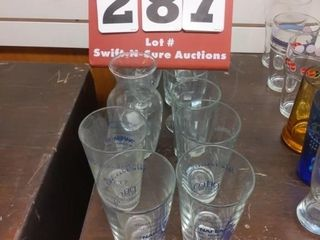 13 assorted glasses and items