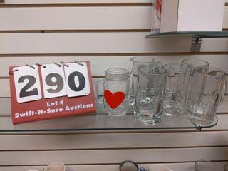 5 glass mugs  1 assorted glass