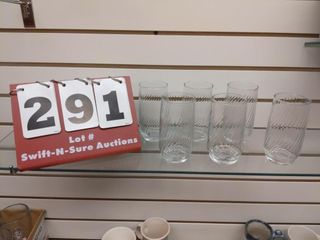 6 matching drinking glasses