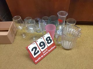 Assorted plastic drinking cups 1plastic pitcher