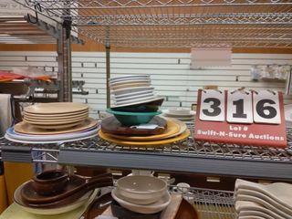 Assorted plastic ware  1 woodish type item