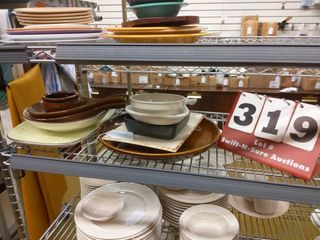 Assorted glass dishes platters